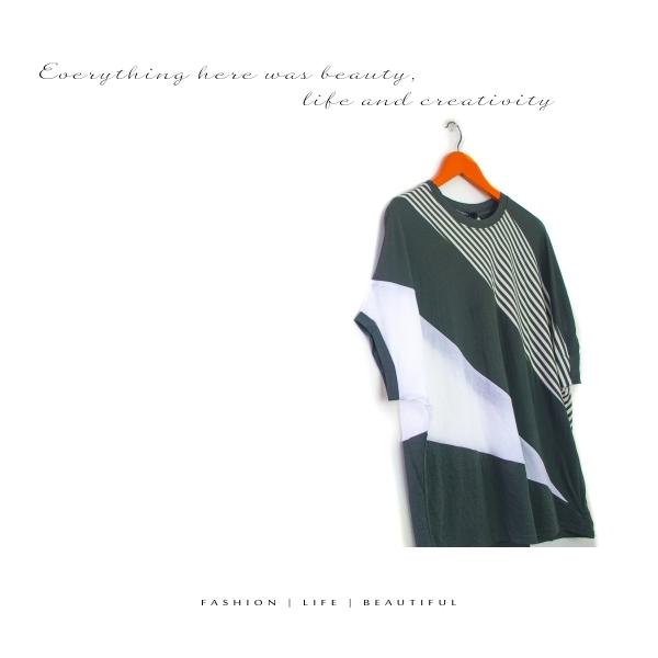 【INI】透氣舒適、寬袖版涼感設計上衣.綠色