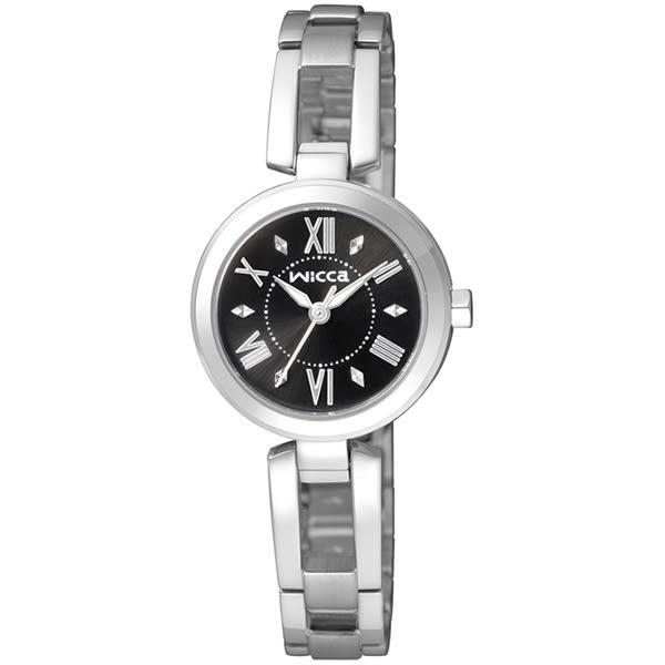 【台南 時代鐘錶 CITIZEN】星辰 Wicca 羅馬時標 浪漫手鐲式腕錶 BG3-911-51 黑/銀 24mm 公司貨