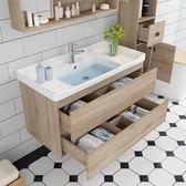 北歐現代簡約浴室櫃 實木吊櫃美式櫃衛浴鏡櫃洗臉 洗手盆櫃組合   汪喵百貨
