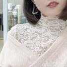 熱賣蕾絲打底衫 韓國東大門蕾絲打底衫女長袖公主秋冬新款半高領內搭氣質上衣【618 狂歡】