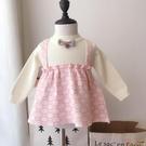 洋裝童裝兒童娃娃針織衫可愛韓版女童假兩件背帶毛衣上衣【小獅子】
