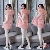 背心外套 2020新款韓版棉馬甲女春秋冬中長款學生背心女士坎肩馬甲大碼外套 2色L-3XL