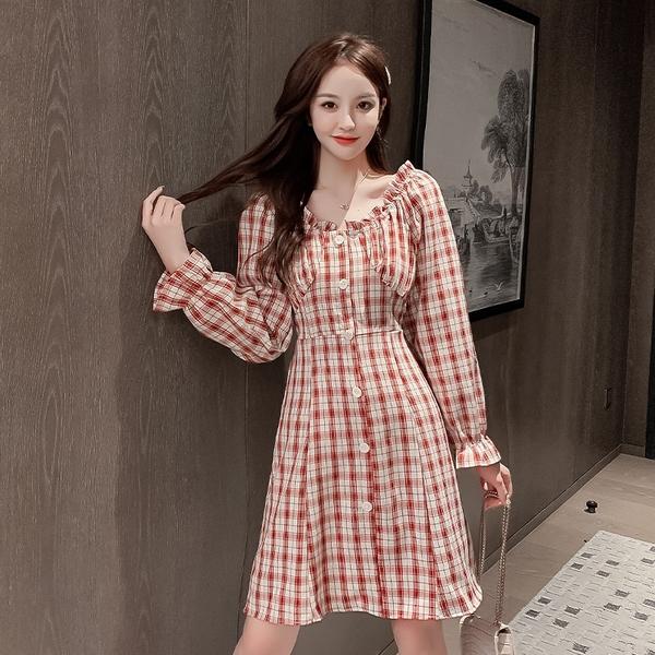 出清388 韓國風復古一字領格紋收腰單排釦長袖洋裝