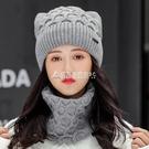 針織帽 帽子女秋冬季韓版時尚百搭圓臉毛線帽加絨加厚冬天可愛保暖針織帽 雙十一全館免運