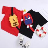 ins童裝男女童寶寶純棉洋氣兒童卡通可愛立體背包書包T恤短袖潮夏第七公社