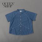 Queen Shop【01023688】拉克蘭袖牛仔車線設計襯衫 1/2/3*現+預*