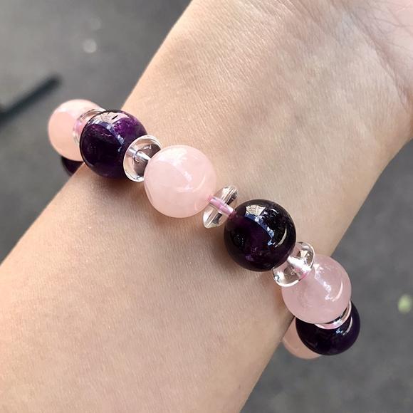 『晶鑽水晶』天然紫水晶+粉水晶+白水晶手鍊 約12mm 圓珠 招桃花 加強記憶力 開發智慧 禮物