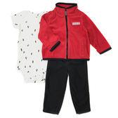 Carter s 長袖套裝 高領外套+短袖包屁衣+長褲三件組紅 男寶寶【CA121G089】