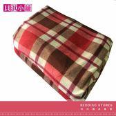 【貝淇小舖】  保暖商品~100%珍珠絨《紅格》刷毛搖粒雙人床包3件組