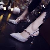 (一件免運)婚鞋包頭涼鞋2018新品一字扣小清新高跟鞋女夏細跟百搭貓跟鞋水晶婚鞋