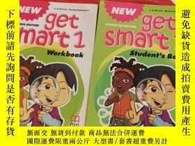 二手書博民逛書店GET罕見SMART 1 students book+work book 2本合售,書內有字跡劃線,書後貼畫已用!