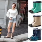 秋春雨靴女成人防滑雨鞋女中筒加絨棉套水鞋膠鞋純色韓國