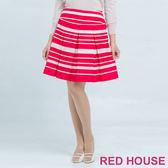 RED HOUSE-蕾赫斯-紅白條紋裙 (紅色) 零碼出清,滿499元才出貨