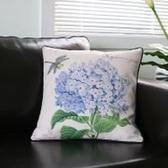 時尚美式鄉村 花鳥棉麻沙發抱枕 辦公室靠墊套 BLW013