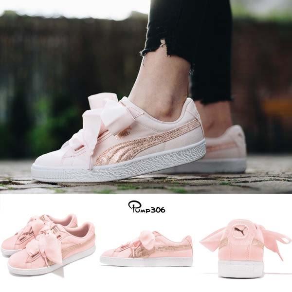 fede1b791 Puma Basket Heart Canvas Wns 粉紅白帆布緞帶鞋基本款女鞋【PUMP306 ...