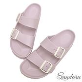 防水鞋 雨鞋 親膚舒適輕量雙扣拖鞋-紫