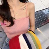 一字領針織吊帶上衣女(8色)素面修身內搭上衣AF1025