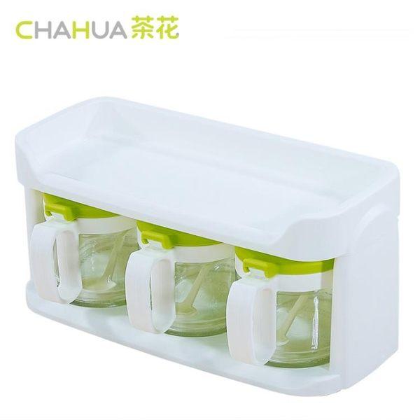 茶花玻璃調料盒調味罐套裝雙層家用廚房調味瓶罐鹽罐調料