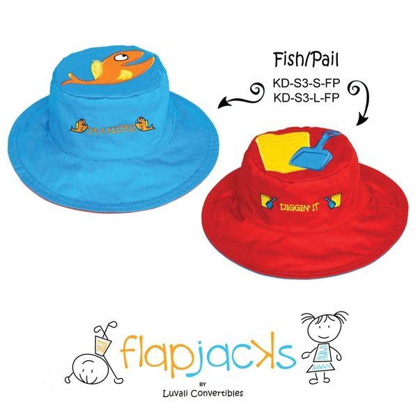 加拿大 flapjacks 兒童翻轉防曬帽-小魚&玩沙工具(藍/紅)