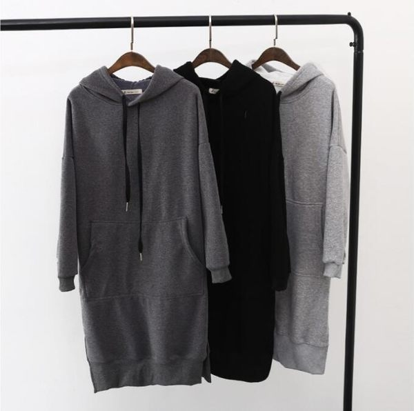 韓國 連帽 全棉 純色 長袖 口袋 加長款 下擺開叉 加絨 加厚 長裙長t恤
