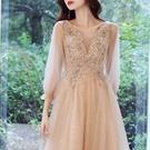 香檳色宴會小晚禮服女2021新款氣質藝考主持人洋裝輕奢高端【全館免運】