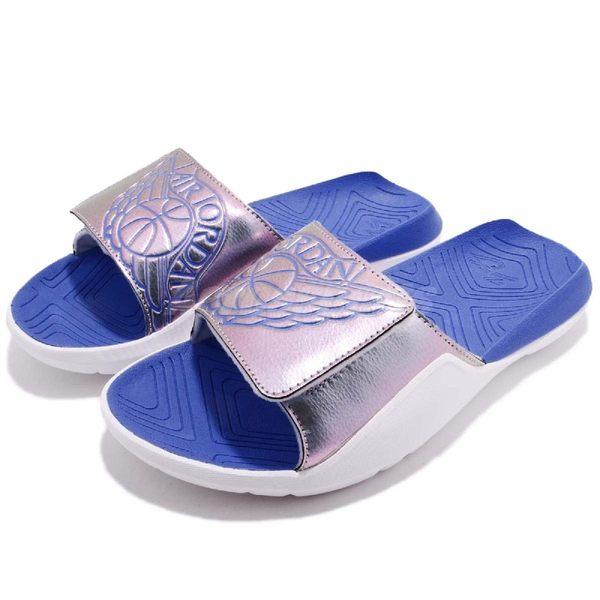 Nike 拖鞋 Jordan Hydro 7 GS 白 藍 魔鬼氈 大LOGO 舒適鞋墊設計 喬登 女鞋 大童鞋【PUMP306】 AA2516-007