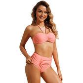 泳裝 比基尼 泳衣 素色 抓皺 聚攏 綁帶 兩件套 繞頸 泳裝 S-XL【LC410654】 icoca  07/12