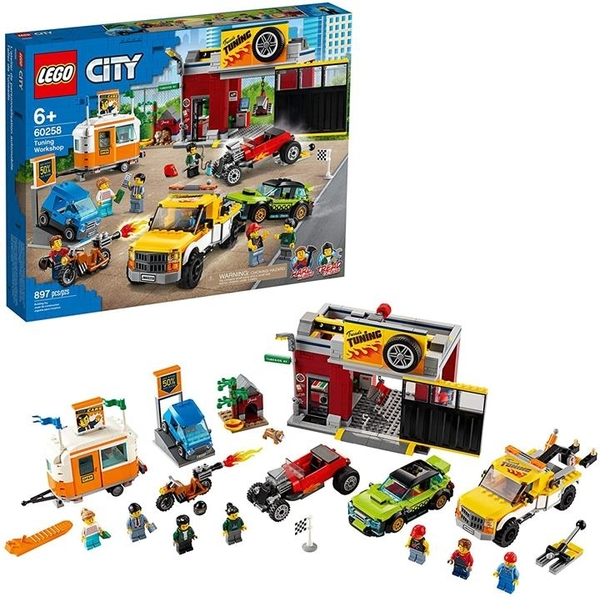 LEGO 樂高 City Tuning Workshop玩具車車庫60258 兒童 酷玩建築套裝 (897件)