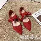 平底單鞋女2020春季新款仙女鞋淺口尖頭女鞋綁帶紅色婚鞋女潮 LF4536【極致男人】