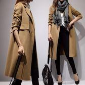 毛呢大衣-中長款時尚百搭舒適簡約女風衣外套2色73ki66【巴黎精品】