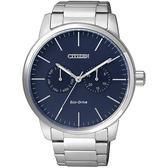 CITIZEN Eco-Drive光動能日曆腕錶-藍/44mm AO9040-52L