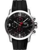 TISSOT 天梭 T-Sport PRC200 競速三眼計時機械橡膠錶帶手錶-黑 T0554271705700