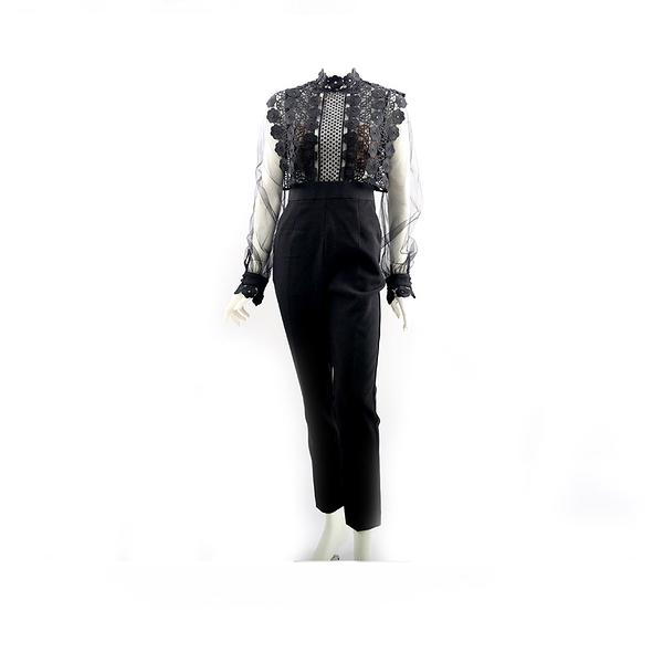 【self-portrait】黑色雪紡蕾絲連身褲裝SP9090J/BLACK