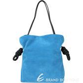 LOEWE Flamenco Knot 麂皮繩結束口肩背包(土耳其藍) 1540437-80