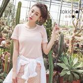 東京著衣-袖口條紋裝飾透膚上衣-S.M(6019180)