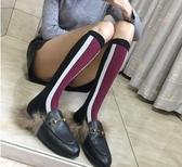 走秀長筒及膝襪黑紅條紋拼接時尚款撞色純棉女襪子