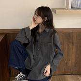 韓版純色POLO領襯衫女學生春季學院風寬松長袖襯衣外套百搭上衣潮 【快速出貨】