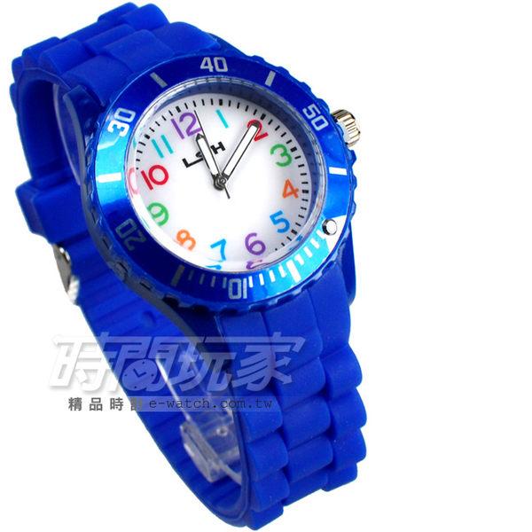 LSH 流行潮個性 彩色造型數字 休閒 女錶 防水手錶 學生錶 LSH10020藍