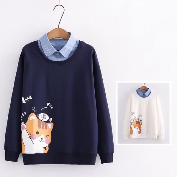 *ORead*日系卡通貓咪印花翻領假兩件衛衣(2色M,L)
