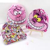 迪士尼絨布印花束口袋 愛麗絲夢遊仙境 旅行置物袋 小物袋