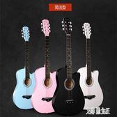 38寸民謠吉他初學者學生女通用復古彈唱木吉它入門練習琴樂器 QQ22075【艾菲爾女王】