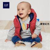 Gap男嬰兒 基本款純色連帽馬甲 348446-摩登紅色