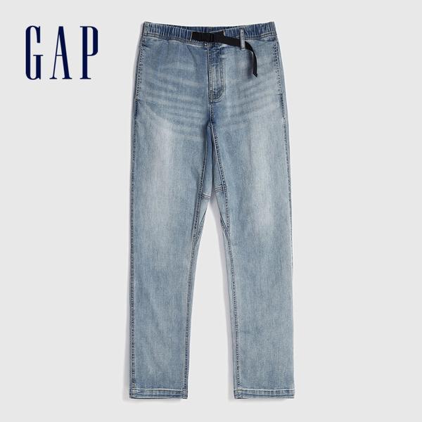 Gap 男裝 淺色水洗鬆緊牛仔褲 599157-中度靛藍