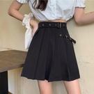 2021新款裙子工裝百褶裙女夏季黑色半身裙顯瘦包臀短裙高腰a字裙  【端午節特惠】