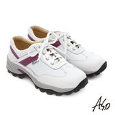 A.S.O 前彈性後避震II 牛皮輕量抗震綁帶奈米休閒鞋  白