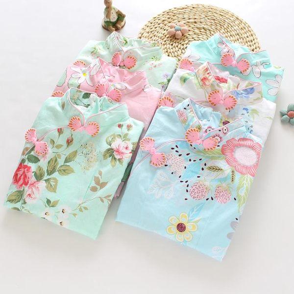 女童旗袍夏中國風連身裙 洋裝裝 兒童旗袍夏季 唐裝小孩寶寶女孩公主裙 生日禮物