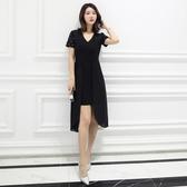 中大尺碼洋裝 小禮服雪紡深V性感燙鑽氣質舒適連衣裙  L-5XL #wm732 ❤卡樂❤