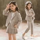 洋裝 女童西裝套裝2020秋裝新款兒童小女孩網紅洋氣jk制服學院風兩件套 韓慕精品