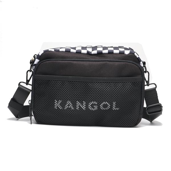 KANGOL 袋鼠 黑白棋盤 側背包 側背 網狀 (布魯克林) 6055300120