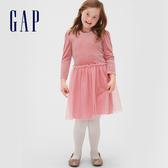 Gap女童甜美絲絨拼接圓領洋裝521694-粉色
